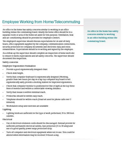 employee working from home template