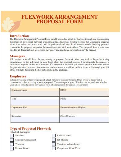 flexible work arrangement proposal forms