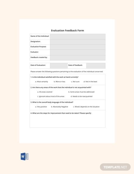free blank hr evaluation feedback form1