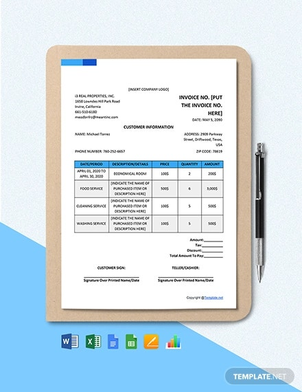 free blank real estate invoice template