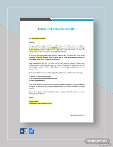 free covid 19 furlough letter template