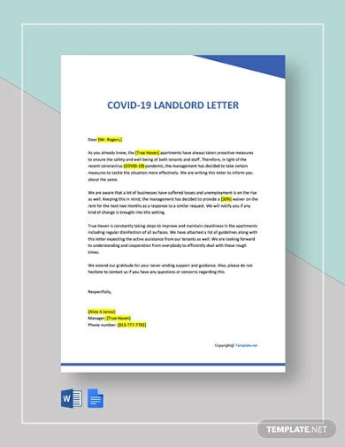free covid 19 landlord letter