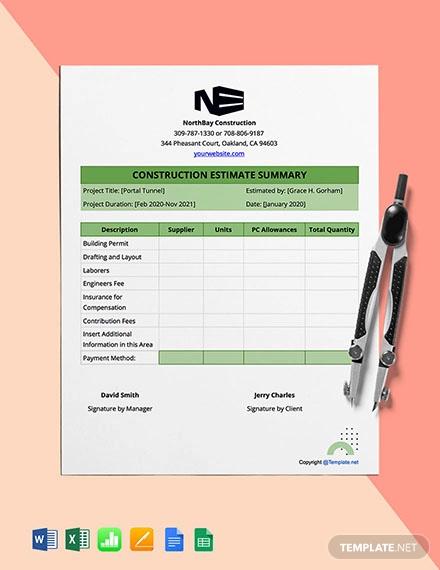 free construction estimate format template