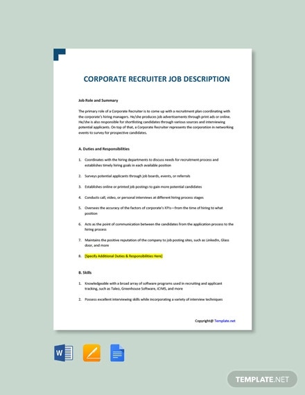 free corporate recruiter job description template