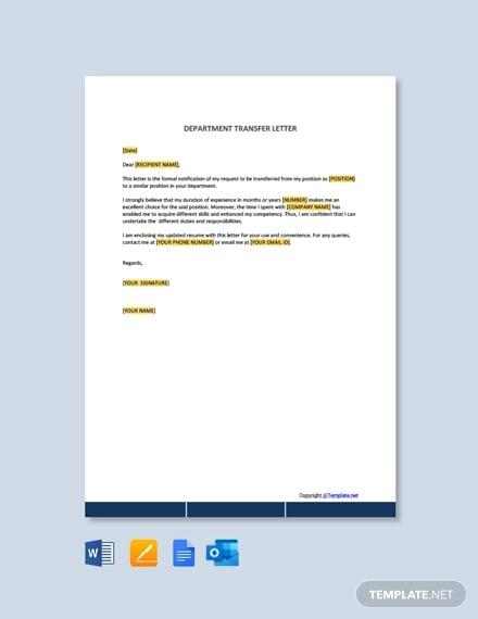 free department transfer letter