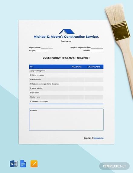 free editable construction checklist template