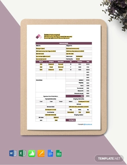 free editable construction purchase template