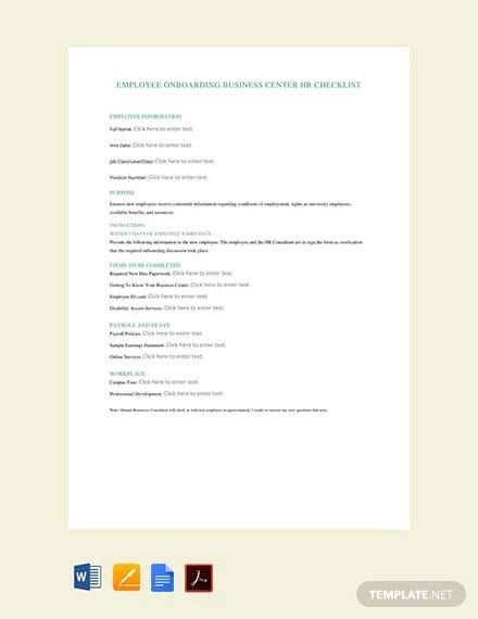 free employee hiring hr checklist