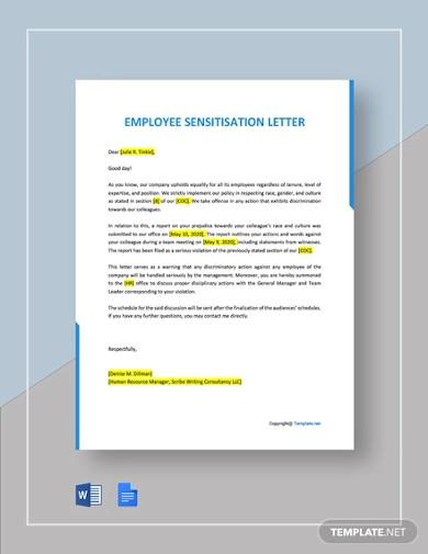 free employee sensitisation letter