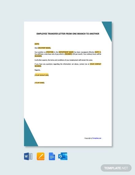 free employee transfer letter one branch another
