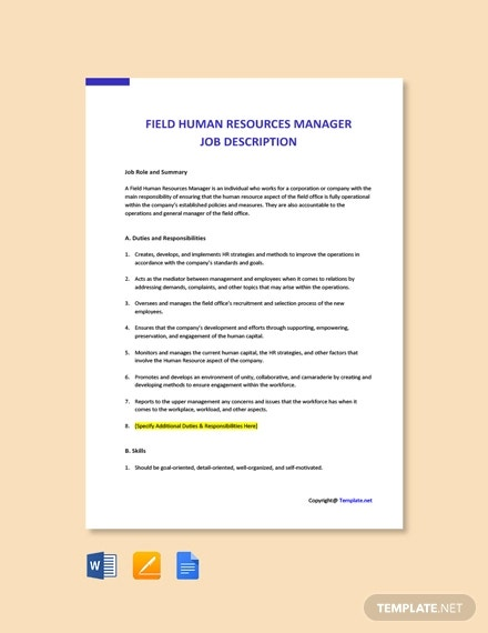free field human resources manager job description template