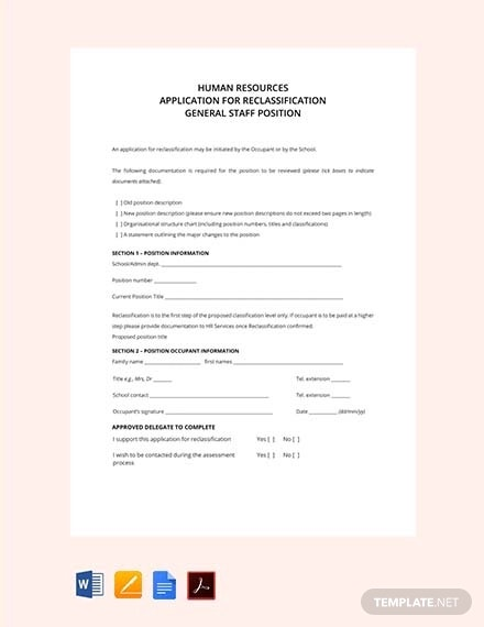 free hr application form for reclassification1