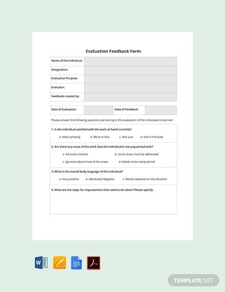 free hr evaluation feedback form