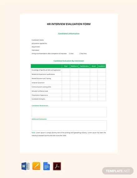 free hr interview evaluation form
