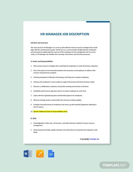 free hr manager job description template