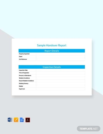 free handover report template