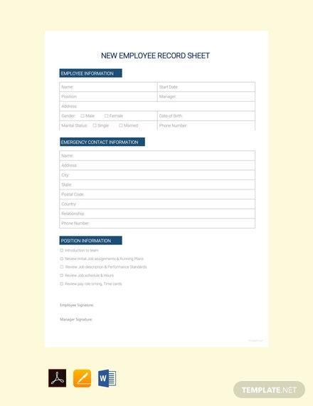 free new employee record sheet template