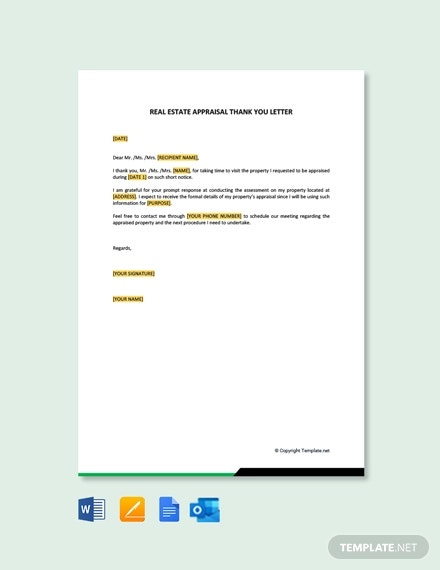free real estate appraisal thank you letter