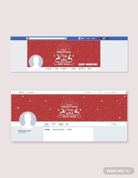 free retro christmas facebook and twitter cover page