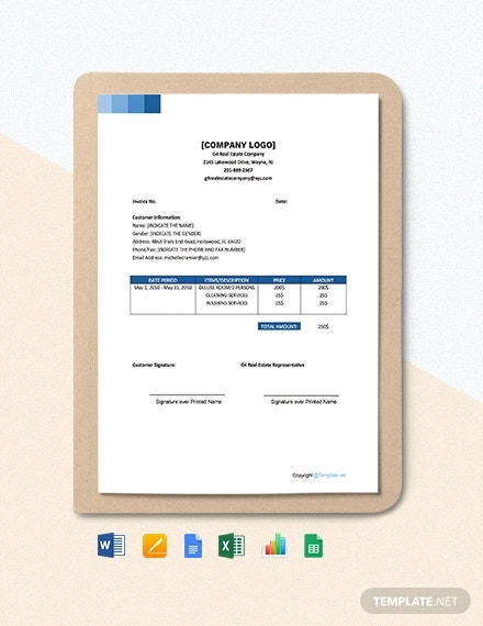 free sample real estate invoice template