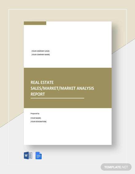 free sample real estate report template