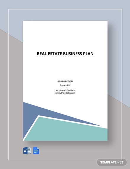 free simple real estate business plan template