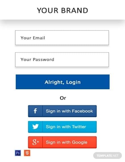 free website login pop up template