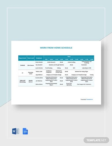 free work from home schedule template1