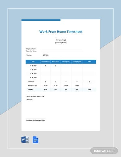 free work from home timesheet template