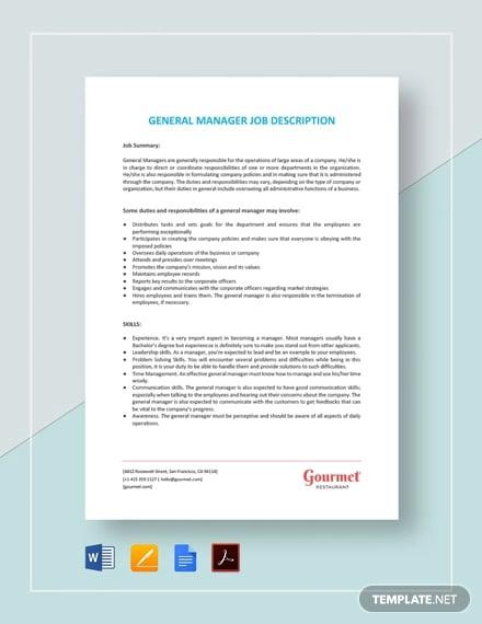 general manager job description template