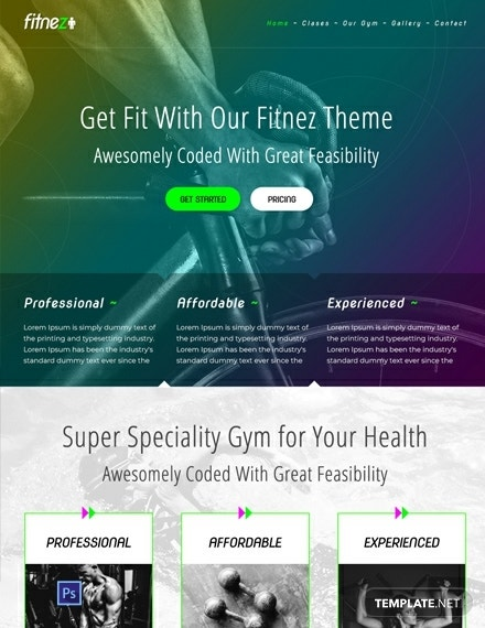 gym psd website template