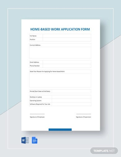 home based work application form template