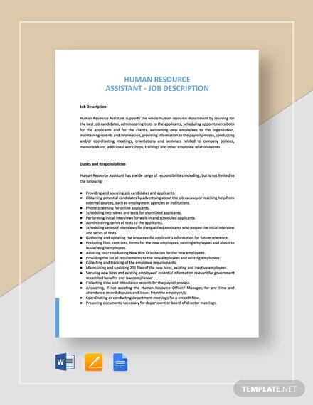 human resources assistant job description template
