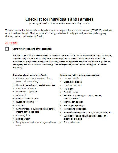 individual checklist for covid 19