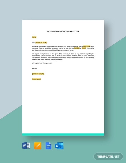 interview appointment letter template1