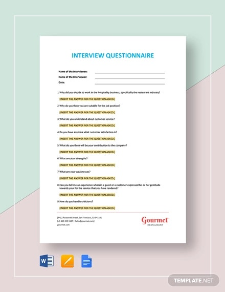 job interview questionnaire template