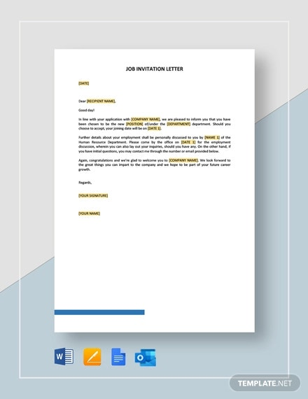 job invitation letter template