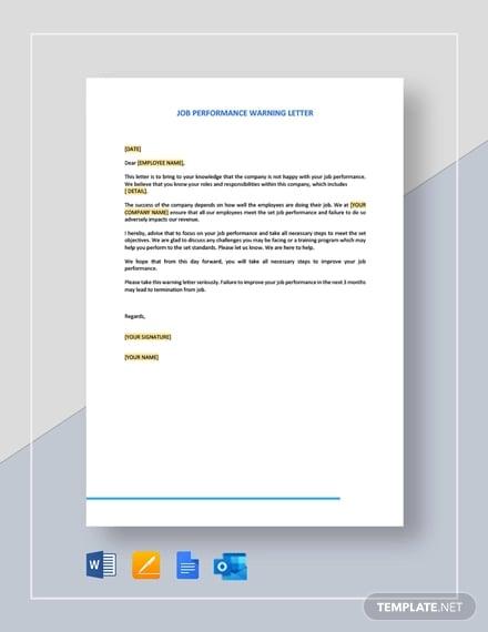job performance warning letter template
