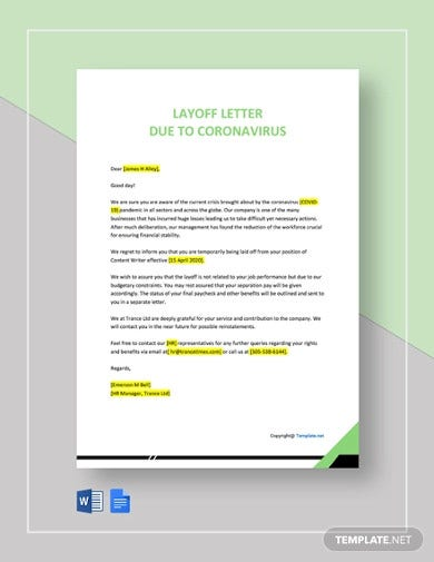 layoff template letter due to coronavirus