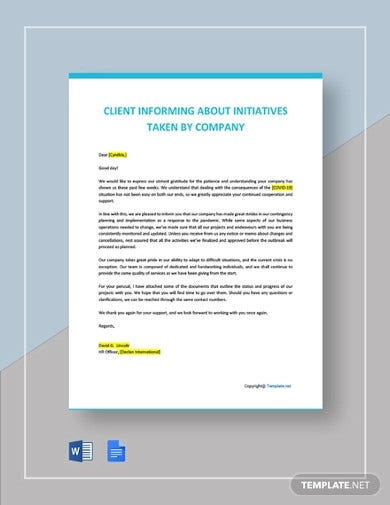 letter to client informing about initiatives taken by company