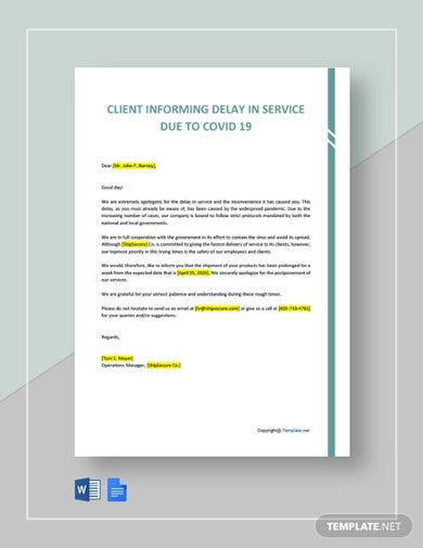 letter to client informing delay in service due to covid 19