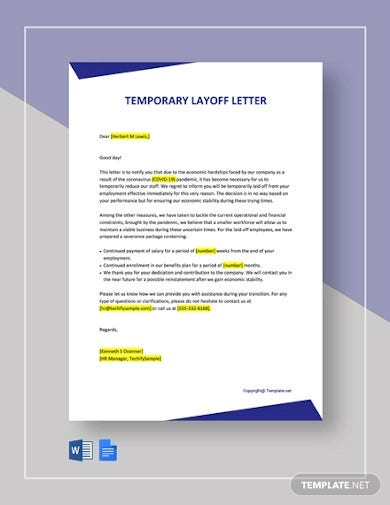 letter of temporary layoff template
