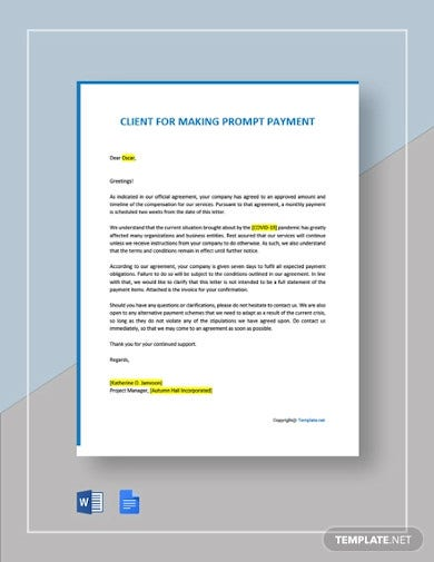 letter to client for making prompt payment template