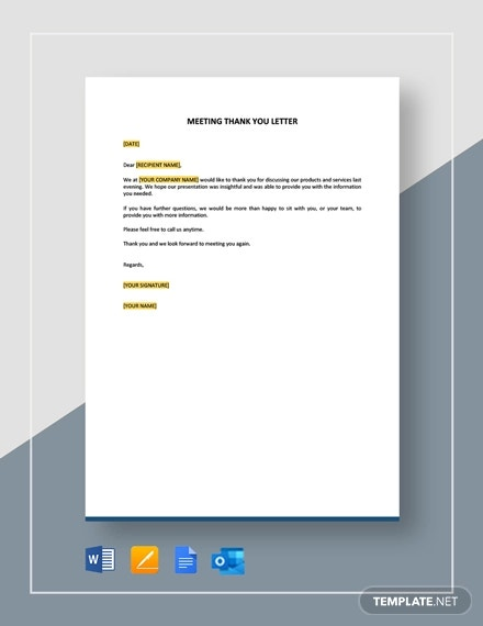meeting thank you letter template