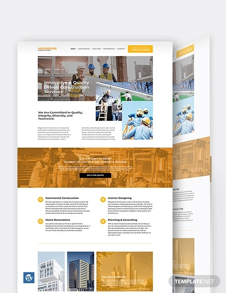 modern construction company wordpress template