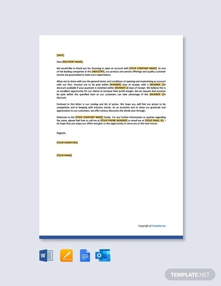 new open account welcome and terms letter template