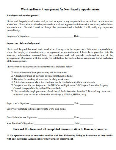 non faculty work at home agreement