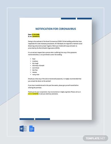 notification of coronavirus template