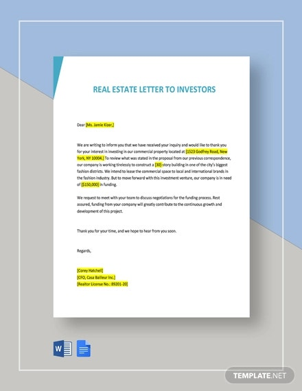 real estate letter template to investors