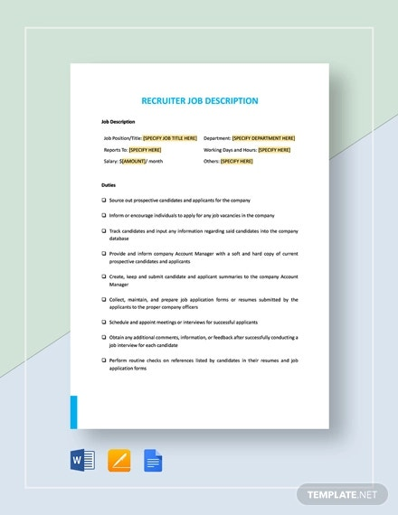 recruiter job description template1
